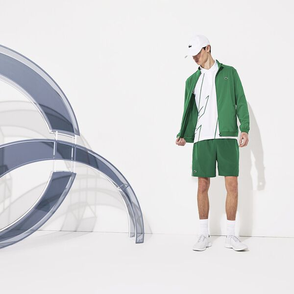 Men's Novak Djokovic  Aus Tralian Open On Court Zip Front Jacket, YUCCA/BLANC-BLANC, hi-res