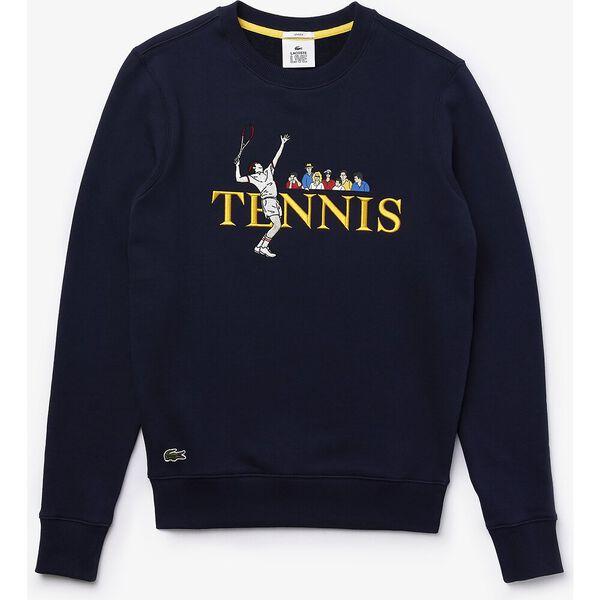 Unisex Lacoste LIVE Lacoste Tennis Design Sweatshirt, MARINE/MULTICO, hi-res