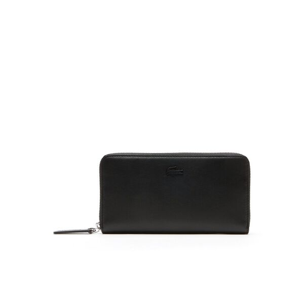 WOMEN'S L.12.12 LEATHER ZIP WALLET, BLACK, hi-res
