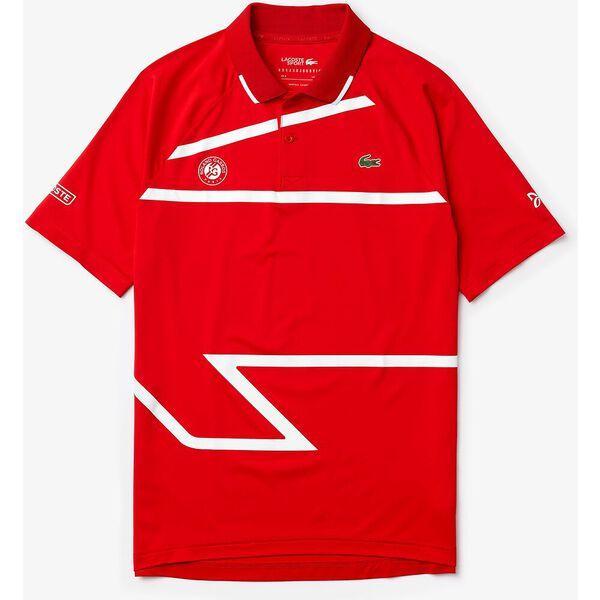 Men's Novak Roland Garros Tech Jersey Polo, POMPIER/BLANC-BLANC, hi-res
