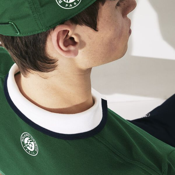 Men's Lacoste SPORT Roland Garros Cotton Plant Design Polo Shirt, YUCCA/WHITE-NAVY BLUE, hi-res