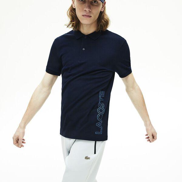 Men's Branded Cotton Polo Shirt, MARINE, hi-res