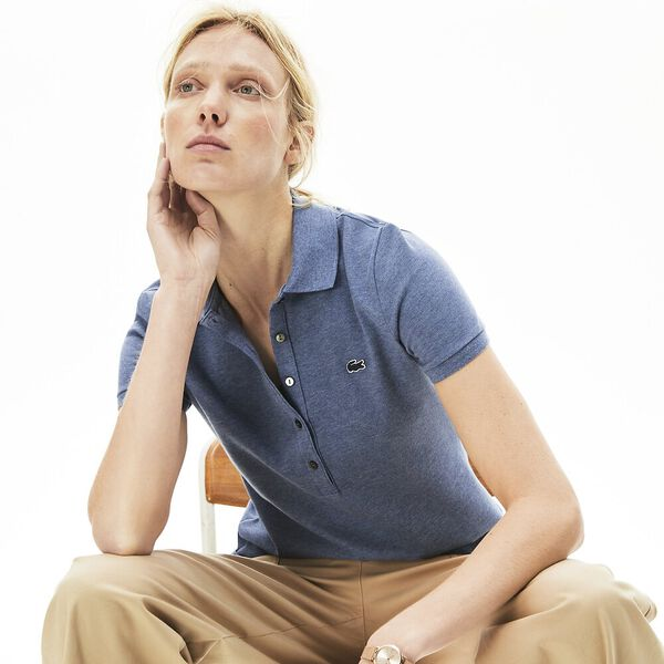 WOMEN'S 5 BUTTON SLIM STRETCH CORE POLO, CRUISE BLUE CHINE, hi-res