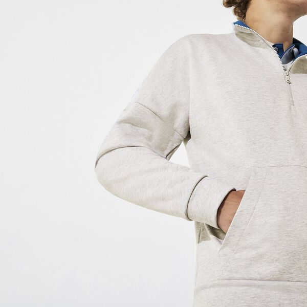 Men's Lifestyle Non Brushed Sweat With Zip, SILVER CHINE/ILLUMINATION, hi-res