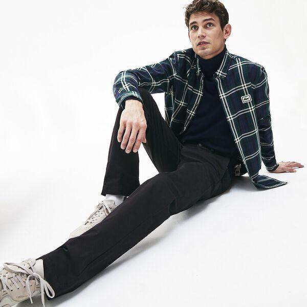 Men's Regular Fit Stretch Cotton Chinos, NOIR, hi-res