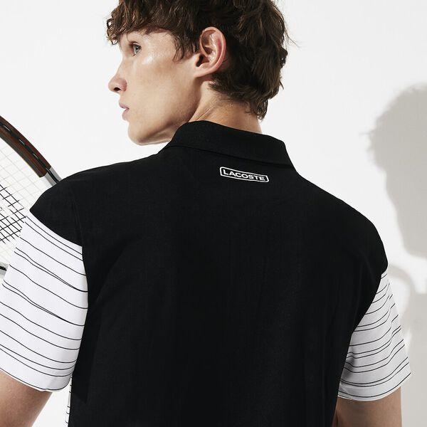 Men's Tennis Ultra Dry Pique Knit Polo, BLACK/WHITE-BLACK-WHITE, hi-res