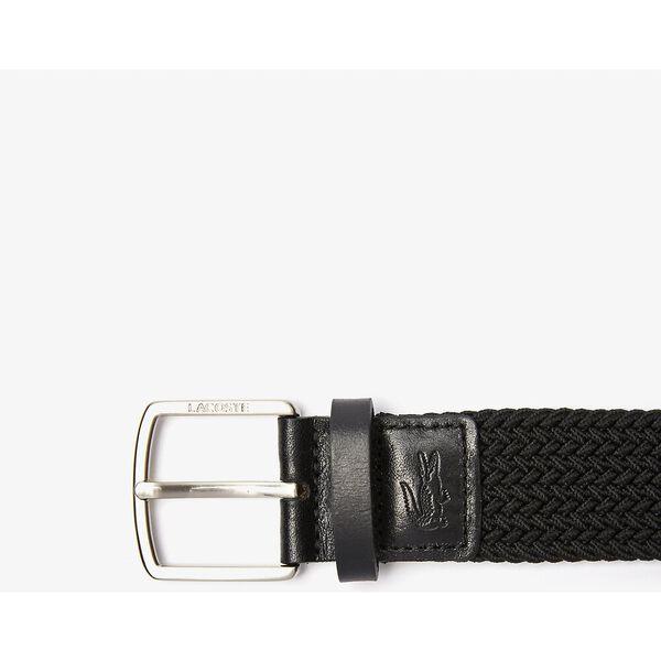 Men's Lacoste Engraved Buckle Stretch Knitted Belt, BLACK, hi-res