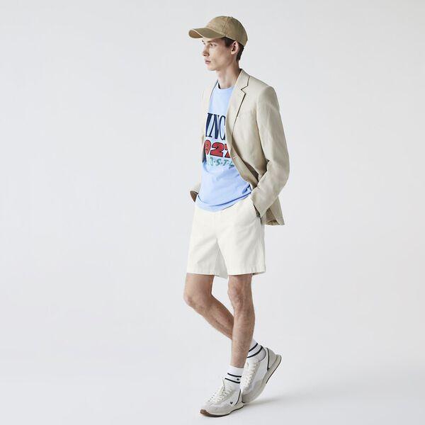 Men's Classic Fit Overstitched Denim Shorts, FLOUR, hi-res
