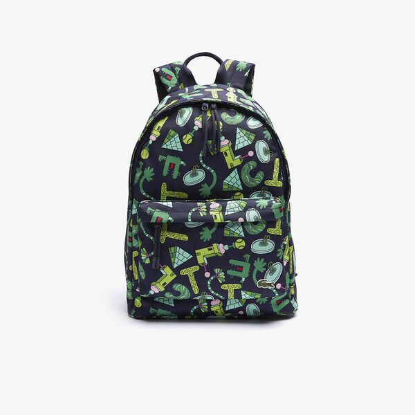 Men's Crocoseries Printed Canvas Zippered Backpack