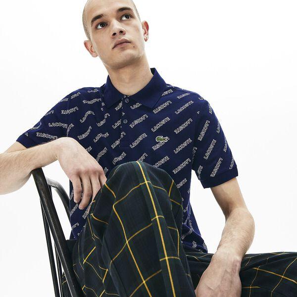 Men's L!ve All Over Print Slim Fit Polo, NAVY BLUE/WHITE, hi-res
