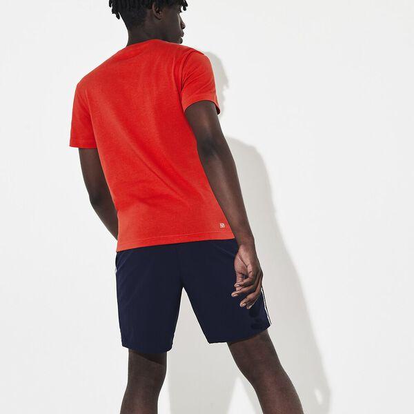 Men's Lacoste SPORT Roland Garros Croc Print T-shirt, FLAMENCO/BLANC-BLANC, hi-res