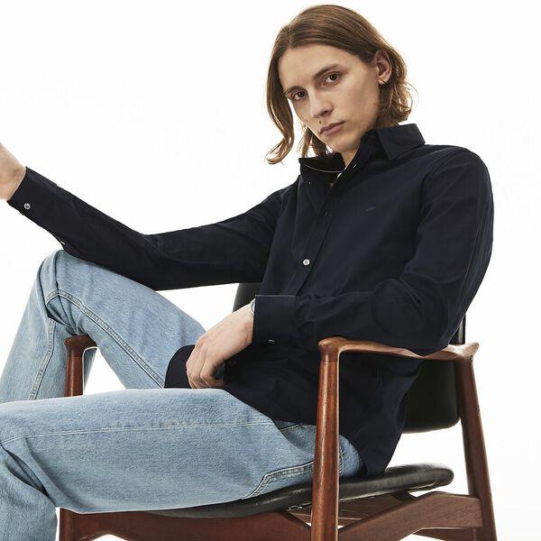 Men's Slim Stretch Solid Poplin Shirt, NAVY BLUE, hi-res