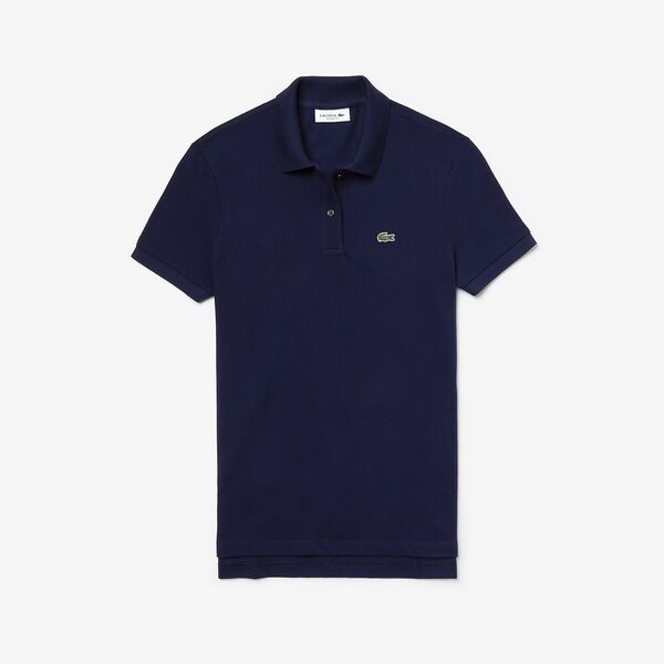 Women's 2 Button Relaxed Fit Polo, NAVY BLUE, hi-res