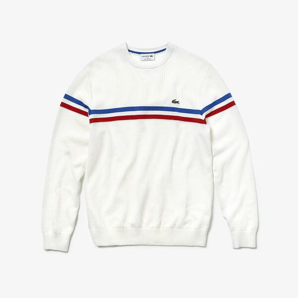 MEN'S MADE IN FRANCE 2 STRIPE KNIT, FLOUR/SALVIA/NAVY BLUE, hi-res