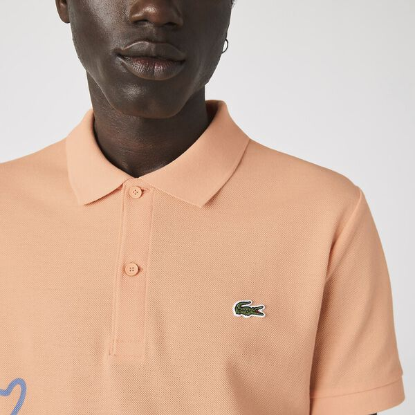 Men's Crocodile Print Cotton Piqué Polo, LEDGE, hi-res