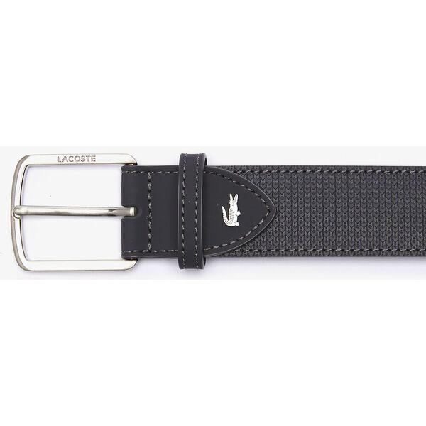 Men's Lacoste Engraved Buckle Reversible Piqué Leather Belt, MARRON, hi-res