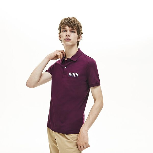Men's 3D Slim Fit Polo, EGGPLANT, hi-res