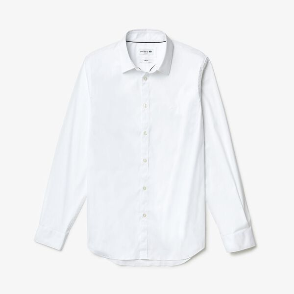 Men's Long Sleeve Slim Stretch Solid Poplin Shirt, WHITE, hi-res