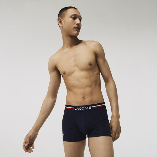 Pack Of 3 Iconic Boxer Briefs With Three-Tone Waistband, NAVY BLUE/SILVER CHINE-RE, hi-res