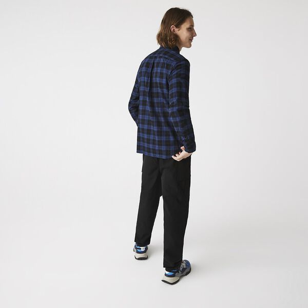 Men's Cotton Twill Checkered Shirt, BLACK/SCOPE TWISTED, hi-res