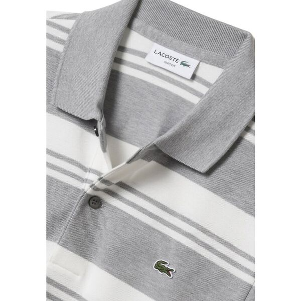MEN'S SLIM STRETCH STRIPE POLO, PLUVIER CHINE/FLOUR, hi-res