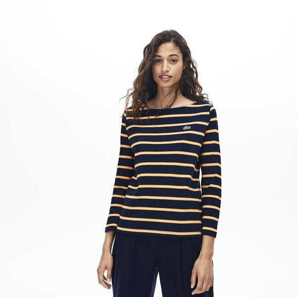 Women's Clean Stripes Long Sleeve Heavy Rib Tee, NAVY BLUE/ABRICOTINE-FLOUR, hi-res