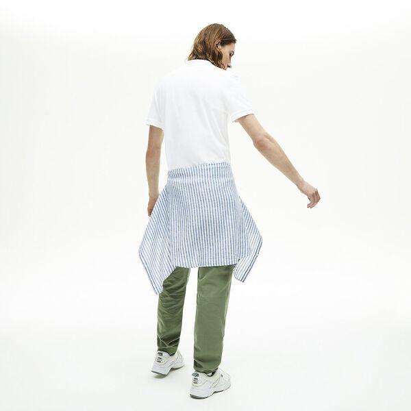 Men's Regular Fit Contrast Accents Cotton Piqué Polo, BLANC, hi-res