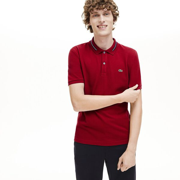 Men's Classic Slim Fit Tipped Collar Polo, ALIZARIN, hi-res