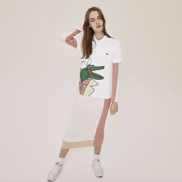 Unisex Lacoste x Jean-Michel Tixier Print Classic Fit Polo Shirt, WHITE/CLUSI, hi-res