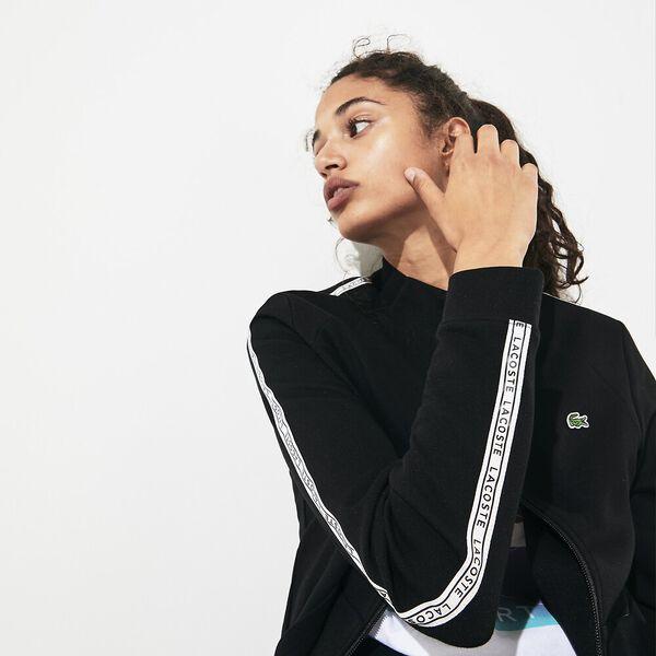 Women's Tennis Double Faced Zip Front Sweat, BLACK/WHITE, hi-res