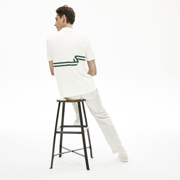 Men's Lacoste Stripe Print Polo Shirt, FARINE, hi-res