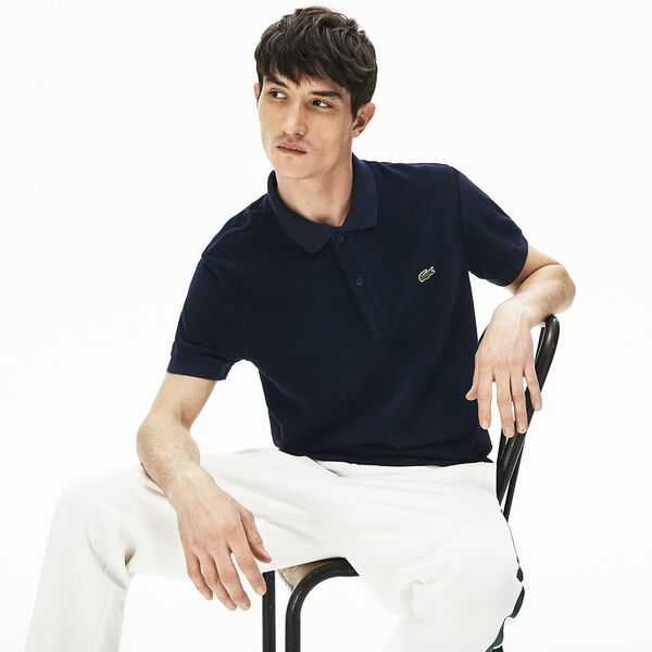 Men's Cotton Fleece Blend Regular Fit Polo Shirt, MARINE, hi-res