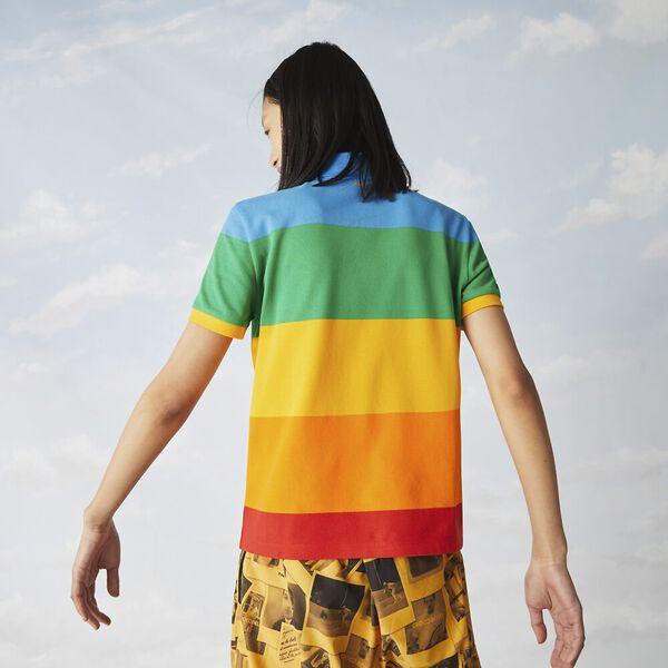 Women's Lacoste x Polaroid Color Striped Cotton Piqué Polo, CORRIDA/ORPIMENT-GYPSUM-M, hi-res