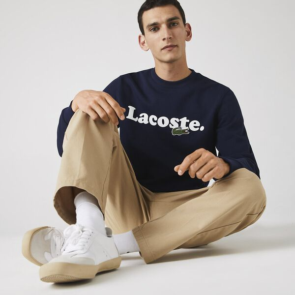 Men's Lacoste And Crocodile Branded Fleece Sweatshirt, NAVY BLUE, hi-res