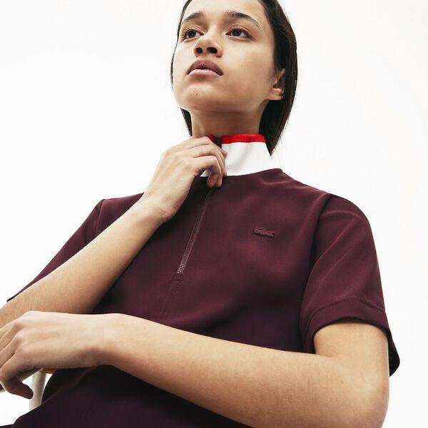 Women's Full Zip Flowy Polo Dress, PRUNEAU/FARINE-CORRIDA, hi-res