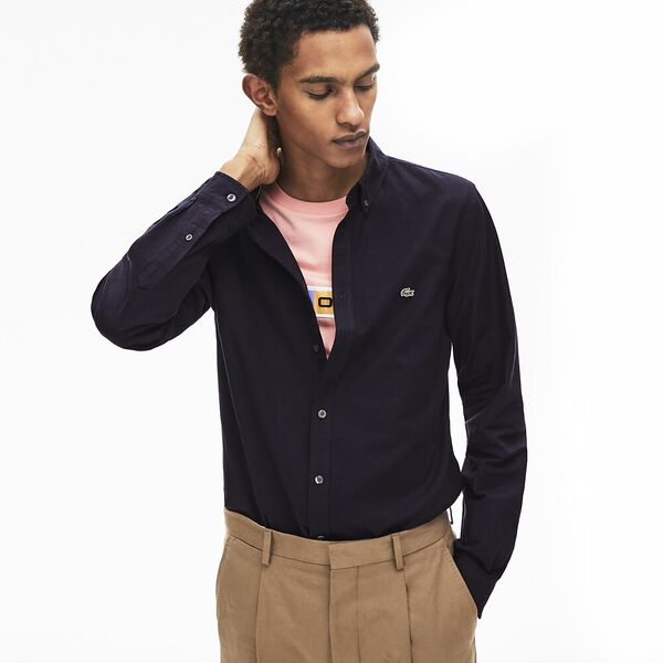 Men's Classic Long Sleeve Slim Stretch Oxford Shirt, DARK NAVY BLUE, hi-res
