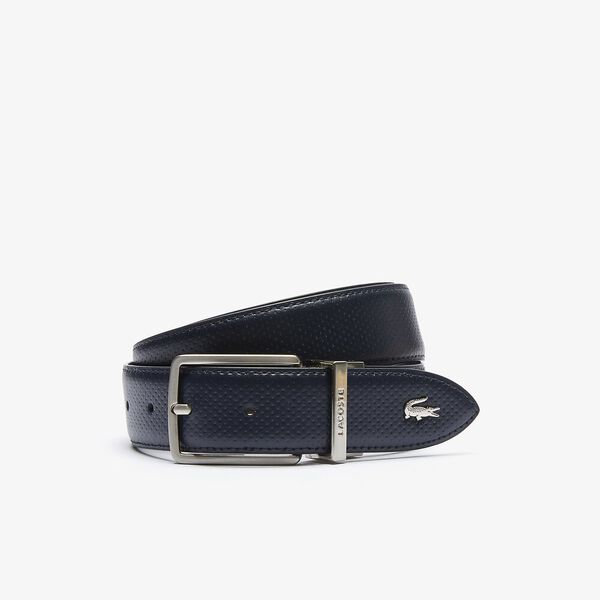 Men's Engraved Buckle Reversible Piqué Leather Belt