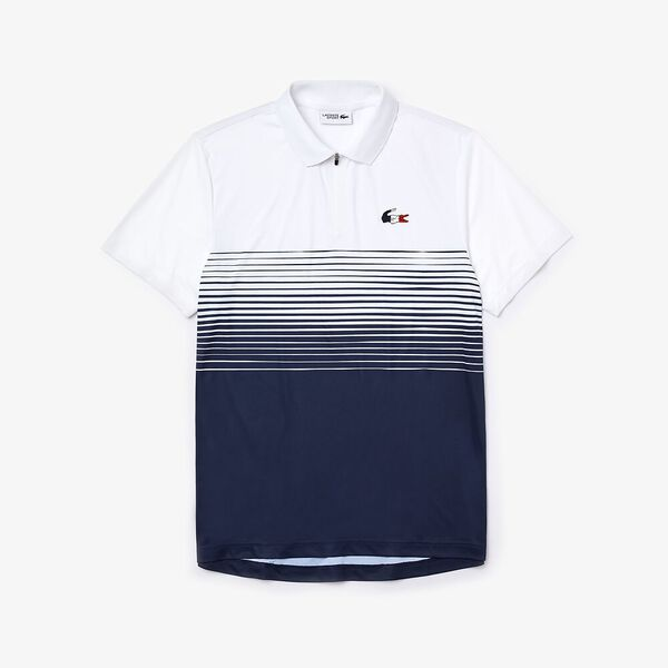 Men's SPORT French Sporting Spirit Edition Zippered Polo, WHITE/NAVY, hi-res