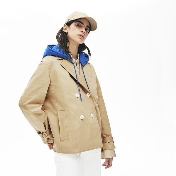 Women's Lacoste LIVE Contrast Hood 2-in-1 Trench Coat