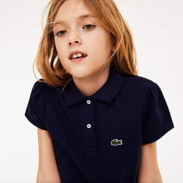 Girls' Scalloped Collar Mini Piqué Polo Shirt