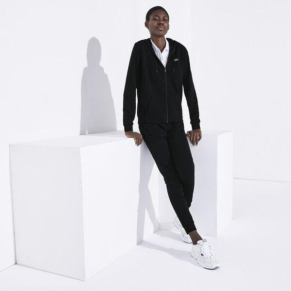 Women's Tennis Zip Front Fleece Sweat, BLACK/BLACK, hi-res