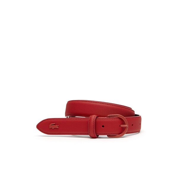 WOMEN'S L.12.12 WOMEN'SS BELT 25 CURVED STITCHED, HIGH RISK RED, hi-res