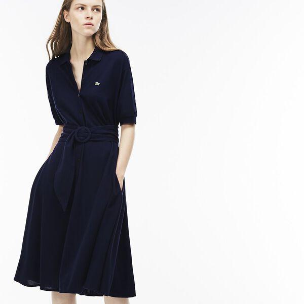 WOMEN'S PIQUE DRESS WITH BELT
