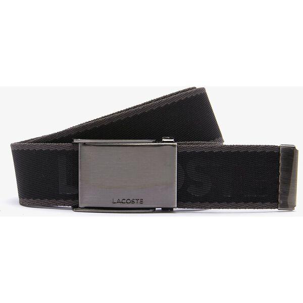 Men's Engraved Plate Buckle Lettered Woven Belt, NOIR ANTHRACITE, hi-res