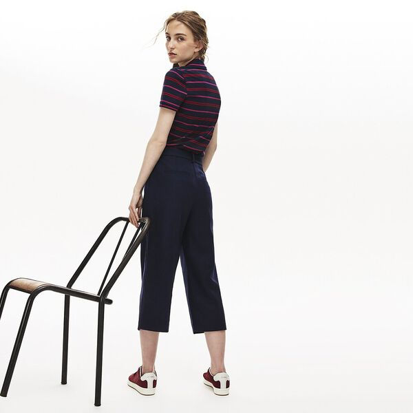 Women's Slim Striped Polo, NAVY BLUE/ALIZARIN, hi-res