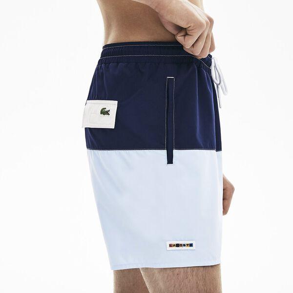 Men's Colourblock Quick-Dry Swim Shorts, MARINE/PURPY-RUISSEAU-FARINE, hi-res