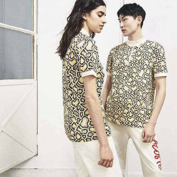 UNISEX LACOSTE LIVE X OPENING CEREMONY REGULAR FIT PRINT POLO, MASCARPONE/MULTICOLOUR, hi-res