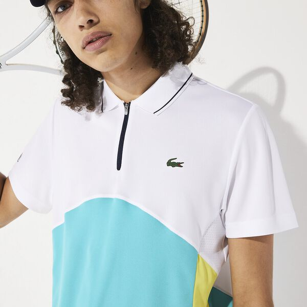 Men's Tennis Ultra Dry Colour Block Polo, BLANC/HAITI-CITRON 05E-MARINE, hi-res