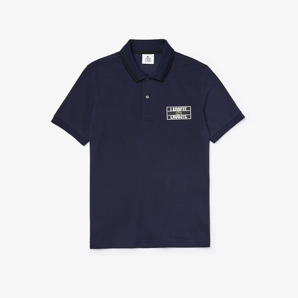 Men's Lacoste LIVE Standard Fit Badge Cotton Piqué Polo Shirt, MARINE/NOIR, hi-res