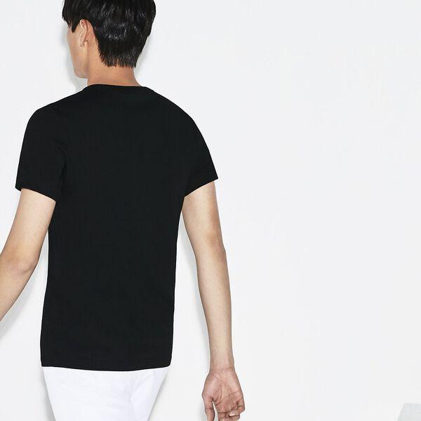 Men's  SPORT Oversized Crocodile Technical Jersey Tennis T-Shirt, NOIR/BLANC, hi-res